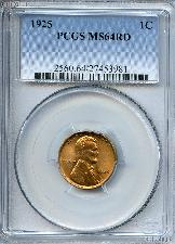 1925 Lincoln Wheat Cent in PCGS MS 64 RD