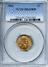 1926 Lincoln Wheat Cent in PCGS MS 65 RD