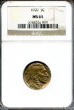1937 Buffalo Nickel in NGC MS 65