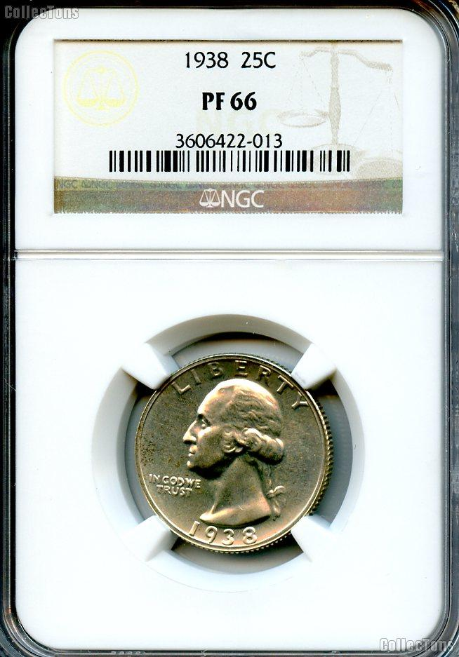 1938 Washington Silver Quarter Proof in NGC PF 66