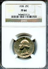 1938 Washington Silver Quarter Proof in NGC PF 66