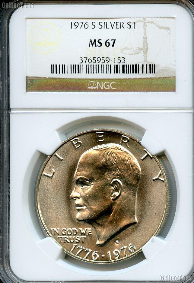 1976-S Eisenhower BICENTENNIAL Silver Dollar in NGC MS 67