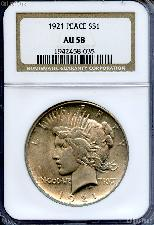 1921 Peace Silver Dollar KEY DATE in NGC AU 58