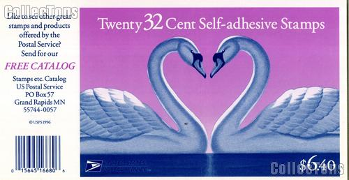 1997 Love Swans - Love Series 32 Cent US Postage Stamp Unused Booklet of 20 Scott #3123a