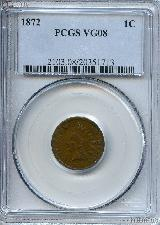 1872 Indian Head Cent KEY DATE in PCGS VG 8