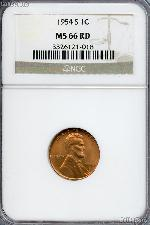 1954-S Lincoln Wheat Cent in NGC MS 66 RD