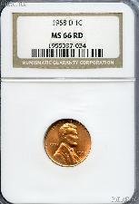 1958-D Lincoln Wheat Cent in NGC MS 66 RD