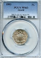 1883 Shield Nickel in PCGS MS 63