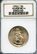 1920 Pilgrims Landing at Plymouth Tercentenary Silver Commemorative Half Dollar in NGC MS 64