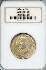 1936-S Arkansas Centennial Silver Commemorative Half Dollar in NGC MS 64