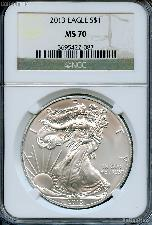 2013 American Silver Eagle Dollar in NGC MS 70