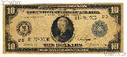 Ten Dollar Bill Federal Reserve Note Blue Seal Large Size Series 1914 US Currency Good or Better
