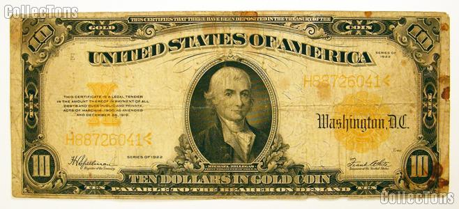 Ten Dollar Bill Gold Certificate Large Size Series 1922 Us Currency