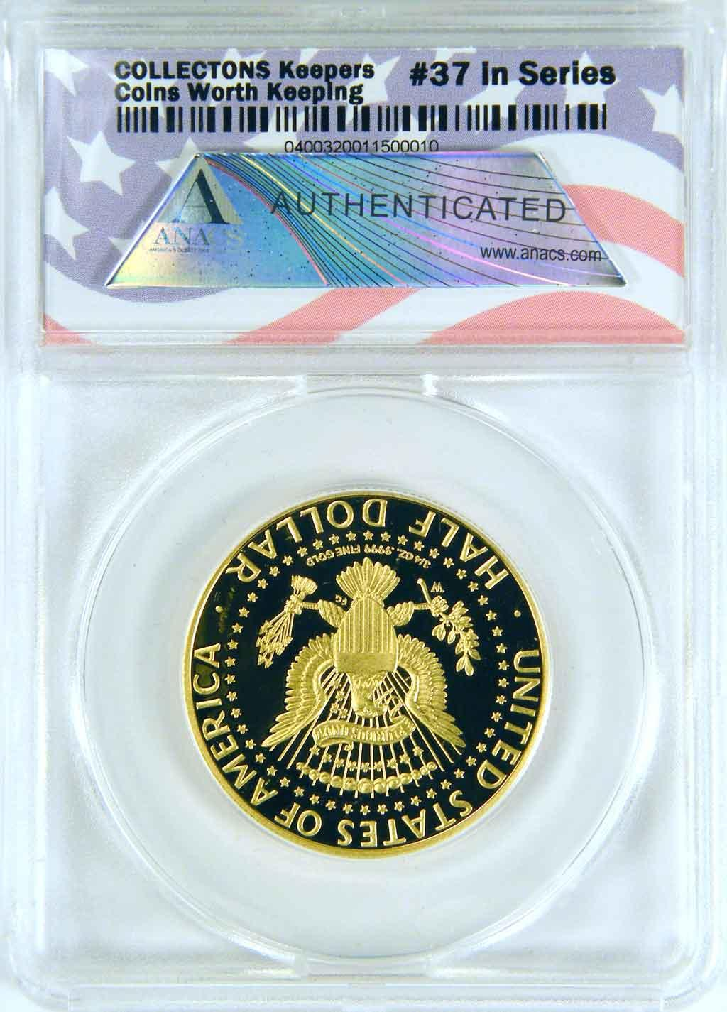 CollecTons Keepers #37: 2014-W Kennedy Half Dollar GOLD Coin Certified in Exclusive ANACS GEM Proof Holder