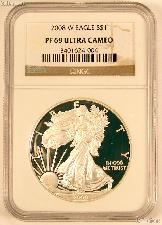 2008-W American Silver Eagle Dollar PROOF in NGC PF 69 ULTRA CAMEO