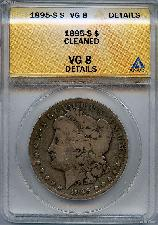 1895-S Morgan Silver Dollar KEY DATE in ANACS VG 8 Cleaned