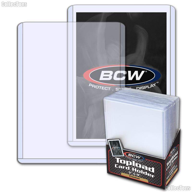 PREMIUM Sports Card Holders 3x4 by BCW 25 Pack Heavy Duty Plastic Top Loaders