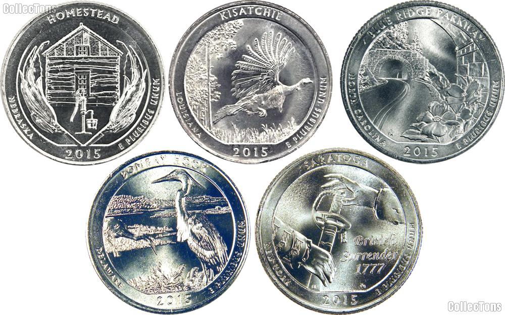 2015 National Park Quarters Complete Set Philadelphia (P) Mint  Uncirculated (5 Coins) NE, LA, NC, DE, NY