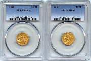 $2.50 Gold Indian Head Quarter Eagles in PCGS MS 63