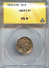 1923-S Buffalo Nickel in ANACS VG 8 - Better Date