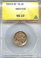 1923-S Buffalo Nickel in ANACS VG 10 - Better Date