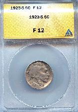 1923-S Buffalo Nickel in ANACS F 12 - Better Date