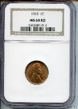 1912 Lincoln Wheat Cent in NGC MS 64 RD (Red)