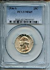 1936-S Washington Silver Quarter in PCGS MS 65