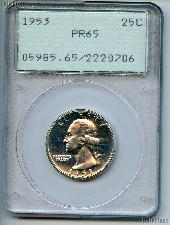 1953 Washington Silver Quarter Proof in PCGS PR 65