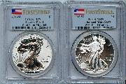 2013-W American Silver Eagle West Point 75th Anniversary Set (2 Coins) Reverse Proof and Enhanced Mint State First Strike in PCGS PR 70 & MS 70