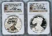 2012-S American Silver Eagle San Francisco 75th Anniversary Set (2 Coins) Proof and Reverse Proof Early Releases in NGC PF 70 ULTRA CAMEO & PF 70