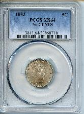 1883 No Cents Liberty V Nickel in PCGS MS 64