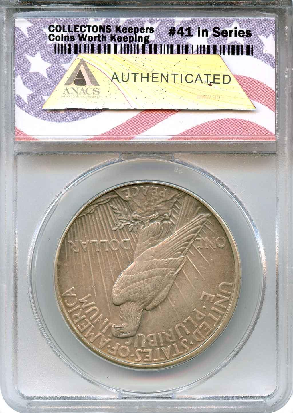 CollecTons Keepers #41: 1921 High Relief Peace Silver Dollar Certified in Exclusive ANACS Holder