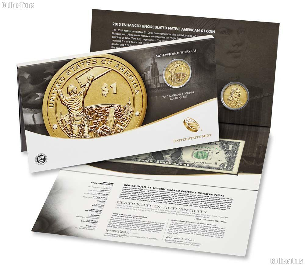 BL9A 2015-W Mohawk Ironworkers American $1 Coin /& Currency Set