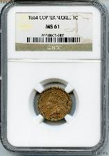 1864 Copper-Nickel Indian Head Cent in NGC MS 61