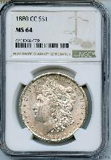 1880-CC Morgan Silver Dollar Third Reverse in NGC MS 64