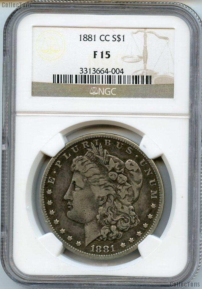 1881-CC Morgan Silver Dollar in NGC F 15