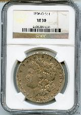 1896-O Morgan Silver Dollar in NGC VF 30