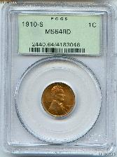 1910-S Lincoln Wheat KEY DATE Cent in PCGS MS 64 RD
