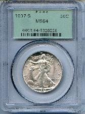 1937-S Walking Liberty Silver Half Dollar in PCGS MS 64
