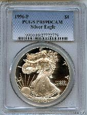 1996-P American Silver Eagle Dollar PROOF in PCGS PR 69 DCAM