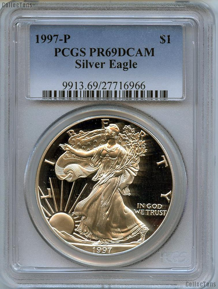1997-P American Silver Eagle Dollar PROOF in PCGS PR 69 DCAM
