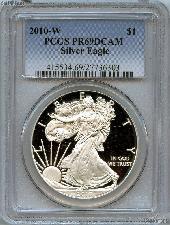 2010-W American Silver Eagle Dollar PROOF in PCGS PR 69 DCAM
