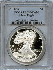 2011-W American Silver Eagle Dollar PROOF in PCGS PR 69 DCAM