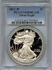 2013-W American Silver Eagle Dollar PROOF in PCGS PR 69 DCAM