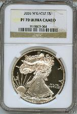 2003-W American Silver Eagle Dollar PROOF in NGC PF 70 ULTRA CAMEO