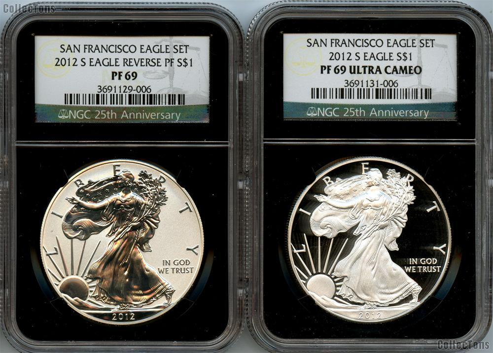2012-S American Silver Eagle San Francisco 75th Anniversary Set (2 Coins) Proof and Reverse Proof in NGC PF 69 ULTRA CAMEO & PF 69 Retro Holders