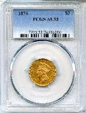 $3 Gold Indian Princess Head in PCGS AU 53