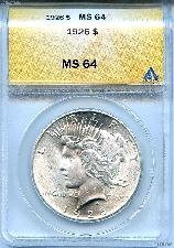 1926 Peace Silver Dollar in ANACS  MS-64