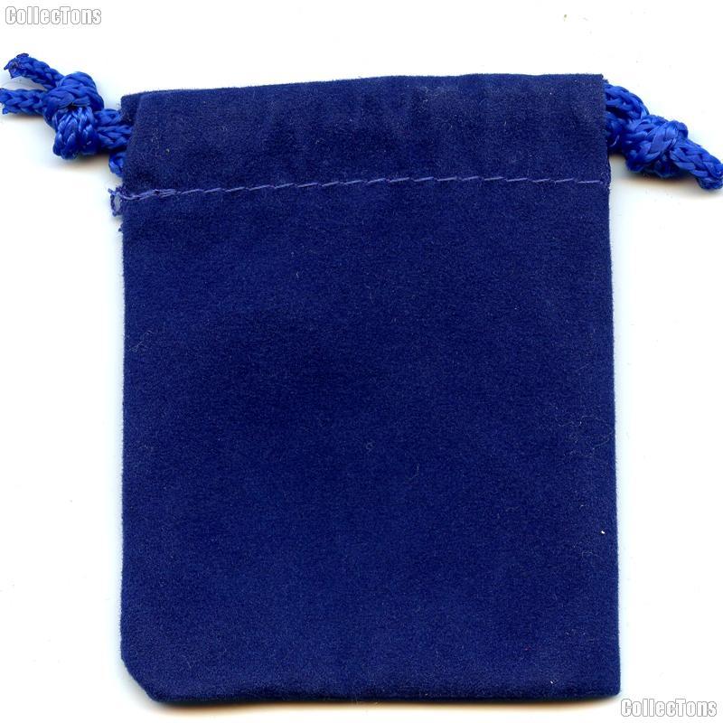Drawstring Pouch 3x4 Royal Blue Velour Bag for Coins & Slab Coins